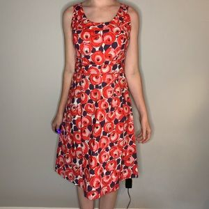 Boden | Retro Rose Fit and Flare Dress Sleeveless